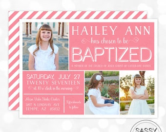 Baptism Invitation Girl LDS Baptism Invitation Photo Baptism Invite Great to be Eight Pink Stripes Christening Invitation