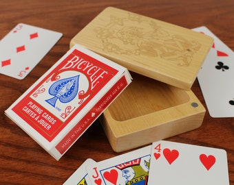 Deck of Cards Box, Joker Storage Box, Card Storage, Card Game Box, All Solid Maple—Laser Engraved, Paul Szewc