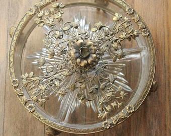 Vintage 30's Matson Style Ormolu Gold Ornate Filigree Cherub Crystal Candy Dish Tray