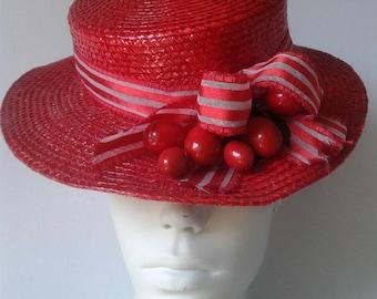"NINA RICCI    Hat ""Bibi"" in red straw - Summer hat -"