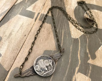 Buffalo Nickel wings necklace