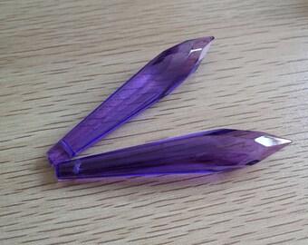 2 - VIOLET PURPLE Faceted Icicle Chandelier Crystal 76mm Prism - 2  Violet Purple 76mm Icicle U-Drop Crystal Prism