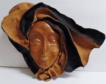 Vintage leather face mask or wall hanging art woman girl