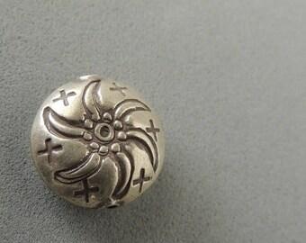 30% OFF Thai Silver Lentil Bead, 1 Bead, Handmade Silver Bead, Artisan Jewelry, Handmade Jewelry, Artisan Jewelry