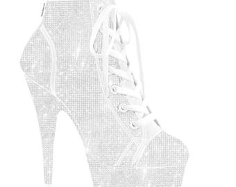 Custom All White Pumps,Swarovski High Heels,Pumps customed with Swarovski ,Custom Bedazzled High Heel,Swarovski Pumps,white heel