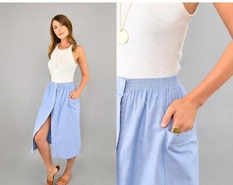 SUMMER SALE 80's Light Blue Midi Skirt