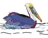 pelican bird illustration art print
