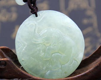 Light Green Natural Stone Carved Seated Elephant Pendant 45mm*45mm  T0441