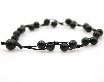 6mm Obsidian Gem Tibet Buddhist Prayer Beads Mala Bracelet  S027