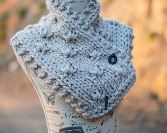 Chunky Knit Neckwarmer - Beige Hand Knit Floral Textured Cowl - Unique Women's Knitwear