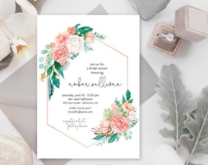 Pink Floral Greenery Bridal Shower Invitation - Garden Shower - Baby Shower Invitation - Peony Roses Blush Rose Gold Watercolor Printable