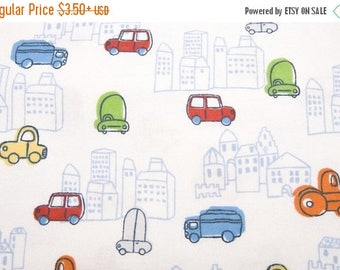 50% off SALE - City Scape - Flannel Fabric - BTY