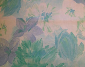 Watercolor Blue Flowers - Vintage  Fabric-35""
