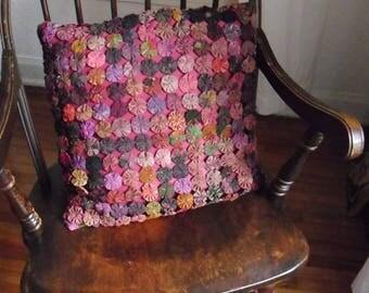 Yo-Yo-Pillow in Lovely Colors-16 Inch Square