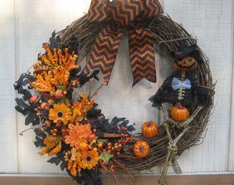 Halloween Wreath//Skeleton Wreath//Orange Wreath//Grapevine Wreath//Halloween Wreath for Front Door