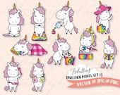 Planner Clip Art, Adulting Unicorn Clip Art Set, DIY Planner Designs, Vector Clipart Graphics, Cute, Kawaii Commercial Use, Chibi Unicorns