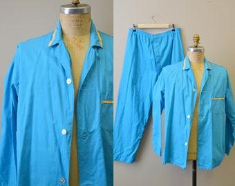 1960s Men's Turquoise Cotton Pajamas