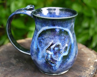 Pottery Mug Blue, Ceramic Mug Blue, Stoneware Mug blue, skull mug, christmas gifts, hand made mug, christmas gift ideas, skeleton mug