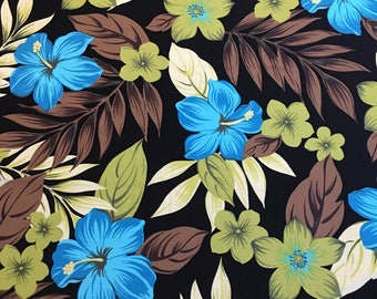 Lycra Fabric Remnant Hawaiian Hibiscus Floral Print Lycra Swimwear Dance Wear Fabric Crafts Sewing YR50