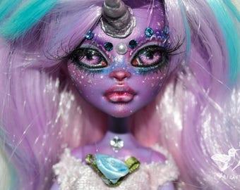 ON RESERVE for Iro Payment 3/4  monster high doll custom ooak repaint artist unicorn fantasy magical rainbow girl - Glitter & Gem