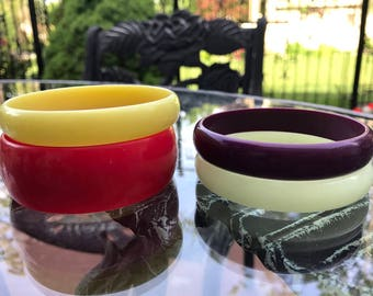 Set of Four Lucite Bangles, ca. 1970s