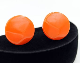 Orange Bakelite Button Earrings