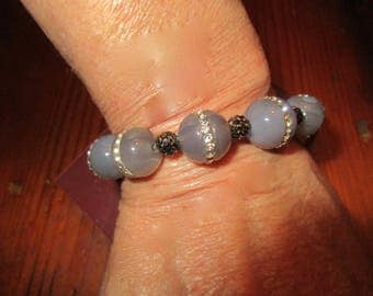 Divine FACETED LABRADORITE w/Channel-Set Rhinestones, Micro Pave Crystals & Silver Freshwater Baroque PEARL Bracelet w/Pave Accents/Clasp