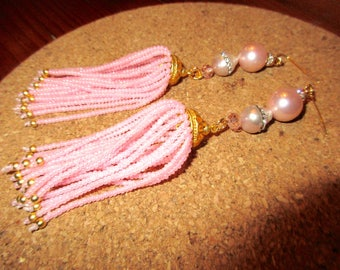 Sublime Genuine AAA PINK Freshwater PEARLS & Pale Pink Baroque Pearl w/Channel-Set Rhinestones, 22K Gold Bead Cap Tassel Pierced Earrings