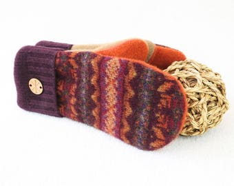 Felted Sweater Mittens MAROON & ORANGE Nordic Fair Isle Burgundy Wool Mitts Fleece Lined Gloves Unisex Gift for Him Her Under 50 WormeWoole