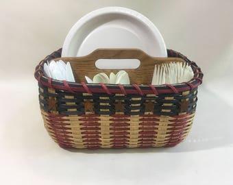 Paper Plate-Silverware Basket / Organizer Basket /  Basket with Dividers-Large-Handwoven Basket-Americana