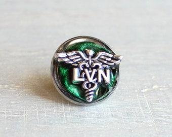 forest green LVN pin, nursing pin, licensed vocational nurse, tie tack, graduation gift, nurse gift, nurse graduation, lvn graduation