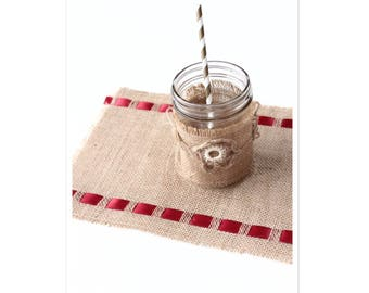 Picnic Burlap Modern Table Mats - Holiday Table Essentials - Indoor/Outdoor Dining & Entertainment