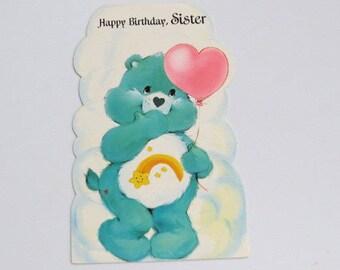 Vtg 80's Care Bear Happy Birthday Sister Greeting Carlton Cards