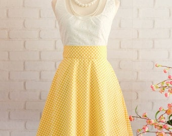 Flash SALE Yellow Dress Yellow Plaid Dress Yellow Prom Dress Yellow Party Dress Yellow Bridesmaid Dresses Yellow Sundress Scoop Neck Dress