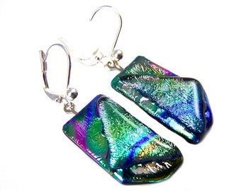 "Dichroic Glass Dangle Earrings - Green Blue Pink Yellow Gold Tie Dye Rainbow Fused Glass - Surgical Steel French Wire or Clip On - 1"" 25mm"
