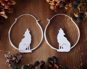 Howl Hoops Sterling Silver Hoops Ear Weights Plug Earrings Hoop Earrings Wolf Earrings Jewelry Howling Wolf Gauged Hoop Stretched Ears 10g