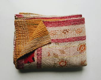 Pink Vintage Kantha Quilt - Multicolored Indian Bedspread - Bohemian Bedding Home Decor