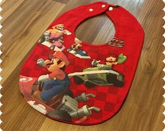 Mario Kart Baby Bib, Recycled T-Shirt Baby Bib, Video Game, Baby Boy Gift Baby, Geek Baby, Nerd Baby Shower