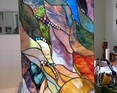 SUNRISE Stained Glass window panel custom ordered by Barbara