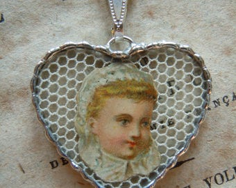 Fiona & The Fig -  Antique Victorian Die Cut Scrap - Sweet Baby- Charm - Necklace - Pendant - Jewelry