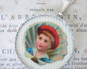 Fiona & The Fig - Double Sided - Boy with Red Cap - Lucky Clover Girl - Charm -  Necklace - Pendant - Jewelry