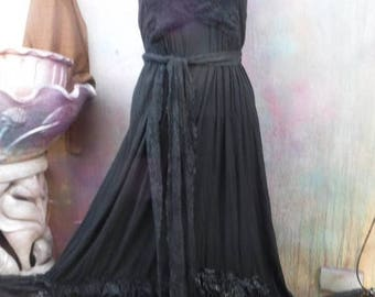 20%OFF wildskin, bohemian, gothic, dress, black, cotton, maxi, gypsy dress, bohemian dress, formal, party, gown, victorian, hippy, medium, l