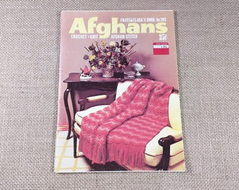 Vintage Coats & Clark's Afghans Crochet Knit Afghan Stitch Pattern Blankets Book 203 1970s