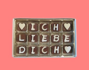 ship AFTER 8/7 Ich Liebe Dich Chocolate Letters Romantic Love Gift for Her Happy One Year Anniversary Gift for Boyfriend Men Girlfriend Wome