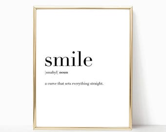 SALE -50% Smile Quote Definition Print, Funny Home Decor, Digital Print Instant Art INSTANT DOWNLOAD Printable Wall Decor