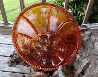 Amber Colored Egg and Pickle Plate by Indiana Glass Company Texas Find