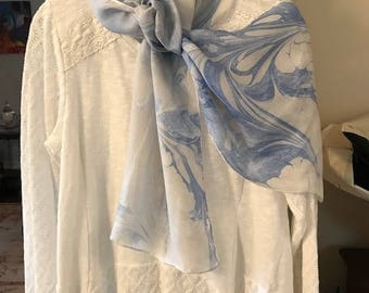 Blue and White Silk Marbled Scarf