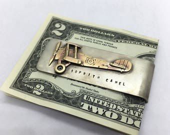 Sopwith camel world war I airplane, money clip