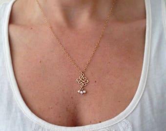 Bridal necklace, Dainty necklace, Boho necklace, Gold necklace, Bridal pearl necklace, Pearl gold filled necklace, Gold dainty necklace