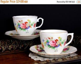 ON SALE 2 Vintage Teacups, Tea Cup and Saucer, Royal Stuart, Spencer Stevenson, English Bone China 13888
